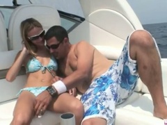 Blond michelle lays on the boat and acquires her cum-hole licked