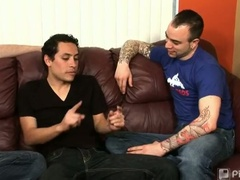 Threeway jerking session with fabio, johnny maverick and sam swift