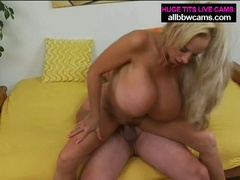 Aged blonde milf with giant milk shakes sucks and fucks