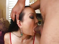 Sassy Ange Venus acquires her juicy throat hammered