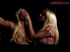 Busty Golden-haired With Breast Servitude Strangled Throat Fingered By Femdom-goddess In The Dungeon