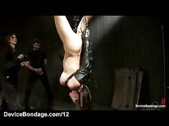 Strung up upside down tied playgirl mouth screwed