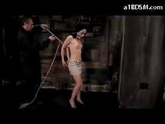 Girl With Moutgag On High Heels Getting Bound Up And Hanged Nipps Tortured With Movie scenes In The Dungeon
