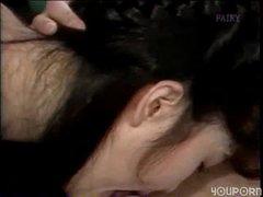 Pale Japanese girl banged on the floor