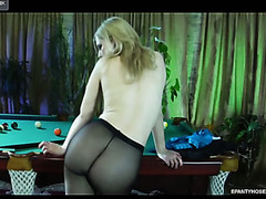 Naughty golden-haired hotty flashing her constricted pantyhosed bottom in the billiard room