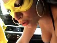 Here's one horny couple fucking in the car in this homemade fucking movie. This doxies wearing a mask and hot underware as she gives head like a true professional and that chap fucks her right in her taut shaven pussy