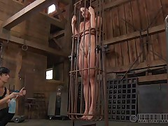 A metal cage and a harsh headmistress is all that this cunt needs to be disciplined. Stick around and have a fun how the headmistress plays with this naked cutie and how obedient she will become. Every nasty whore merits a treatment like this!