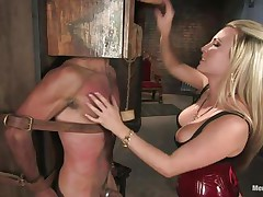 Headmistress Harmony doesn't allows men to do what they want, so, with the help of her chains and all sorts of easy but efficient tools this babe punishes this muscled guy, first by adding clothespins on his face and then by thrashing him during the time that he's in chains. This babe does her job perfectly and soon this guy will be resigned enough