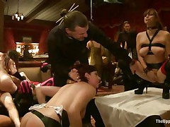 They want to have joy and they decided to humiliate the fastened women. But it's solely beginning of this kinky orgy. They are sharing the pussies of those hotties among themselves. One woman sits on the face of captive to give satisfaction.