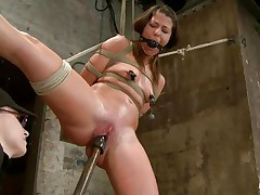 With weights added to her large nipples, sexually sexually excited milf Mia Gold is tied up and has one leg in the air for a better vagina domination. Having her face hole gagged, this hottie can only moan. Her mistress sticks a large marital-device in that wet vagina of hers and a sextoy on her clitoris to drive her crazy. Will this hottie cum soon?