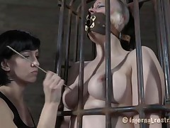 Yeah bitch, u merit this punishment. U thought that everything needs to be your way and always had lack of respect. Let's see u in that cage how punk u are now. It's a bit humiliating for such a bad a-hole gal like u to be caged, tied and slit rubbed isn't it? Stay there and shut the fuck up.