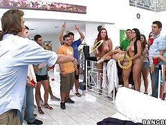 Kelly Divine, Diamond Kitty, and Ashli Orion invade a college dorm for some fun and fucking. Ashli takes a dildo in the wazoo with Diamond holding it for a game of ring toss. The winner acquires to take up with the tongue Ashli's brown eye, then get his salad tossed, get a blowjob, and fuck a hotty anally for the first time.