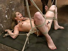 Take a look how hard her pussy is sucked! The golden-haired babe is about to receive a hard castigation from her experienced mistress. That babe hangs her upside down, removes the sucker and oils her pussy. After that the bitch goddess fingers deeply the blonde's fur pie and makes her shriek insanely and almost to cum!