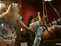 See these pretty gals going wild at a costume party. They have a pleasure being tied up to the ceiling as the people present there take advantage of their position. Krista Khaos is a brunette milf with large tits and a round butt with a great blowjob experience. That babe is prepared for that stud to fuck her mouth rough.
