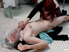 This guy gets attention from his devilish redhead and can't live without it. the divine floozy used a plastic bag to suffocate her large lad and even grabbed him by the neck whilst engulfing his cock. Now he's allowed to finger her cunt for a short period of time in advance of getting ass slapped with a paddle. What else the mistress prepared?