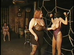 Here's a oldie but goldie bdsm. Headmistress Bianca taunts her female sex thrall not only with her big delightsome milk shakes but with her skills too. That babe ties Carla's big melons with rope and squeezed 'em hard after that babe played with them. Carla will have to obey the will of her mistress because she's fastened hard