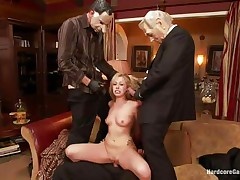 Hot golden-haired floozy Zoey acquires drilled hard by five lustful fellows with face masks. This babe is recorded, during the time that her taut holes are getting filled with big hard dicks by turns. This babe groans with pleasure and wants greater amount and more. This babe opens her face hole to engulf it deep. Who will cum first, that babe or they?