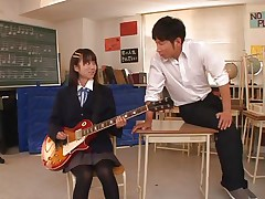 Pretty schoolgirl Asuka is in the classroom, learning to play the guitar. This doxy is greater quantity interested in her professor and he sees in her a lot of potential but not as a guitar player. This babe has a lot greater quantity talent when it's about a hard penis and gives him one hell of a hand job in advance of bending over in front of him