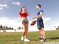 Violet and her chap have some good football practice outdoors. They love exercising but the almost any good work out they had that day was after they got inside the house. Violet repays her chap for paying her so much attention to her and kneels in front of him to give his rod a lustful suck. Now that's fair play in a relation