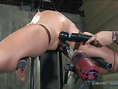 Cuz Wenona is a hard to please hotty this man uses a lot of special devices to make her pussy juicy and to give this wench her pleasure. That man pulls her nipp using clamps with strings and then rubs her hairless cum-hole with a vibrator. Wenona opens her sensual lips and gladly endures her punishment.