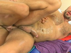 Shaggy chap acquires a lusty anal spooning from masseur