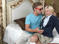 Appealing older and juvenile chick get their pussies screwed wildly