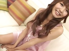 Adorable Japanese honey is moaning wildly from toying her twat