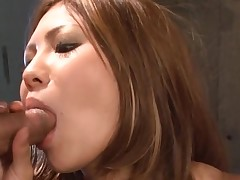 Big bra buddies Oriental gets her tight fur pie thrashed in hawt group sex