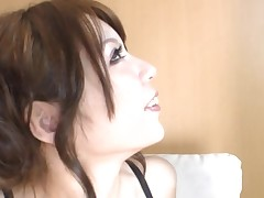 Oriental slut eating cum and receives drilled hard with large marital-device