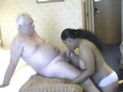 Chunky honey from India grinding on white old man's meaty pecker