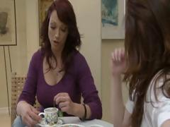 Two excited dark brown MILF's have tea party and take up with the tongue each others love tunnel