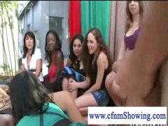 Cfnm gals jerking off man in a swing while he eats muff
